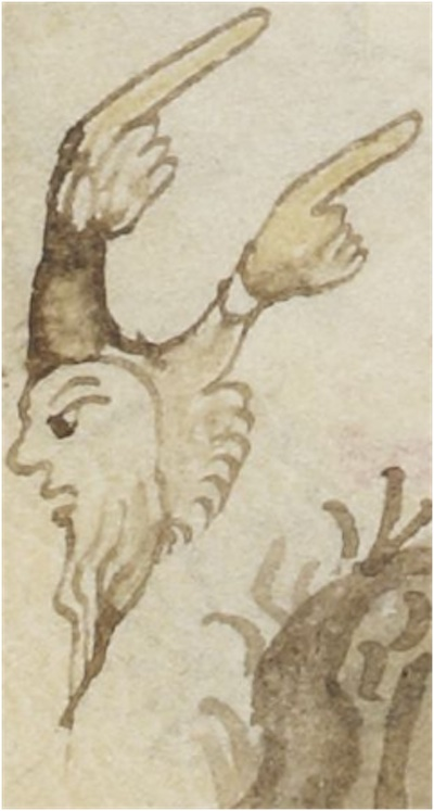 goat headed man with hands for horns